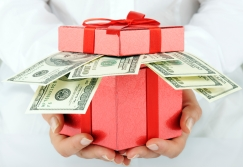 cash in gift box