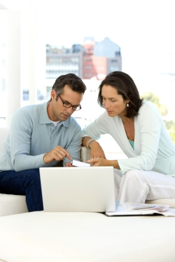 couple evaluating home finances