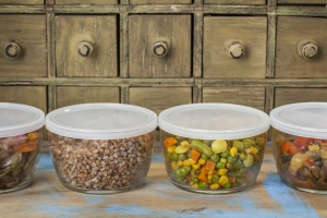 Leftovers in plastic containers.